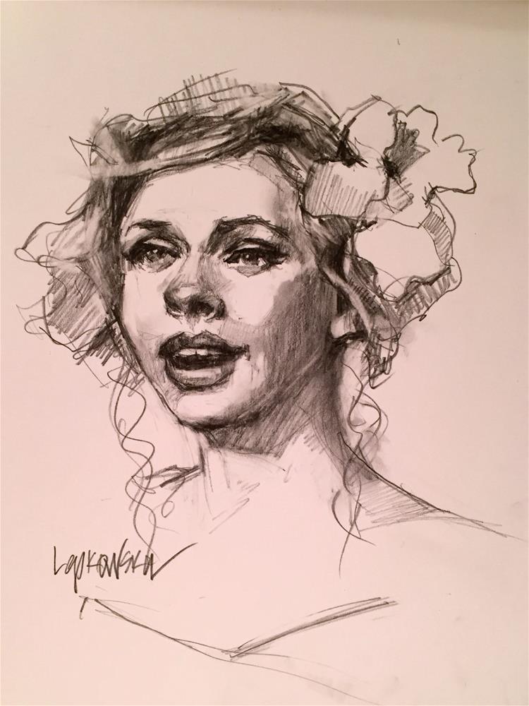 """""""La chanteuse"""" original fine art by Laurie Johnson Lepkowska"""