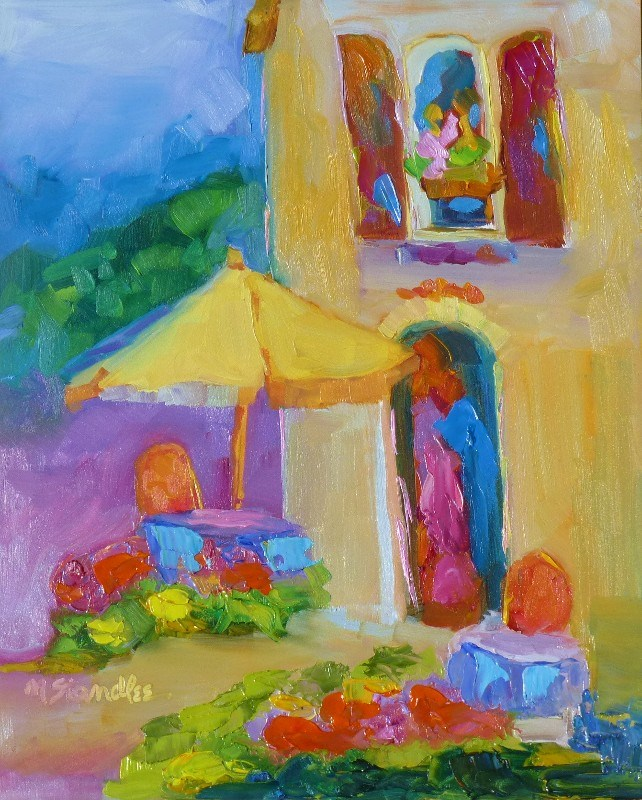 """French Umbrella Again 13056"" original fine art by Nancy Standlee"