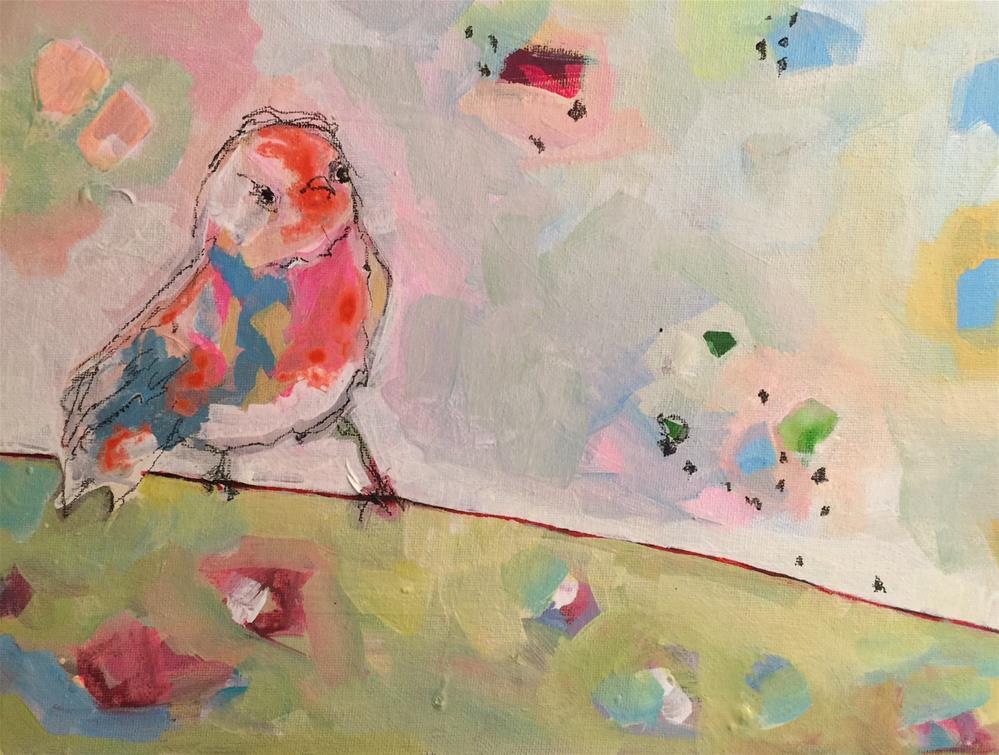 """443 Bird on a Wire"" original fine art by Jenny Doh"