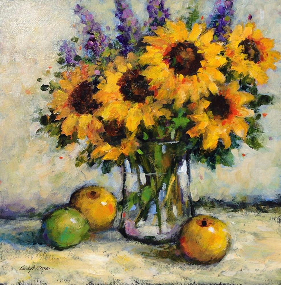 """Sunflowers and Delphiniums"" original fine art by Nancy F. Morgan"