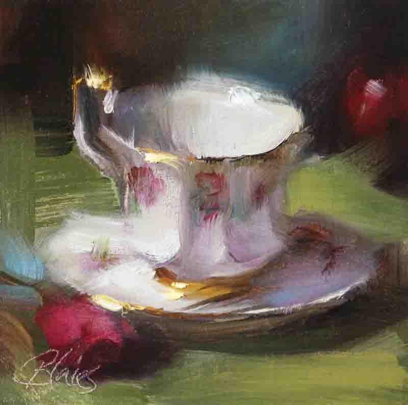 """""""Teacup and Saucer"""" original fine art by Pamela Blaies"""