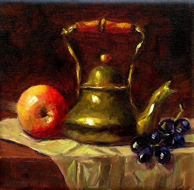 """""""Still Life with a Brass Kettle"""" original fine art by Irina Beskina"""