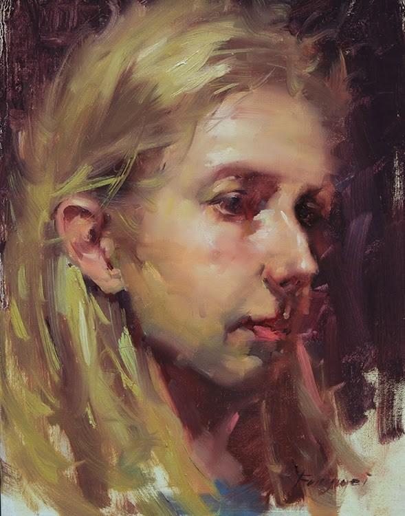 """Head study - Mandy"" original fine art by Fongwei Liu"