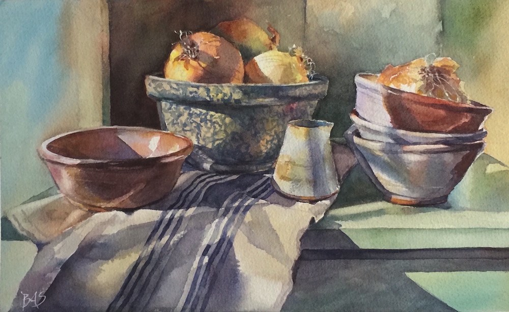 """Bowlfuls Of Onions"" original fine art by Barbara Scheihing"