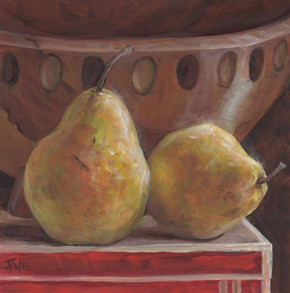 """""""#94  Two pears and maple bowl"""" original fine art by Ruth Van Egmond"""