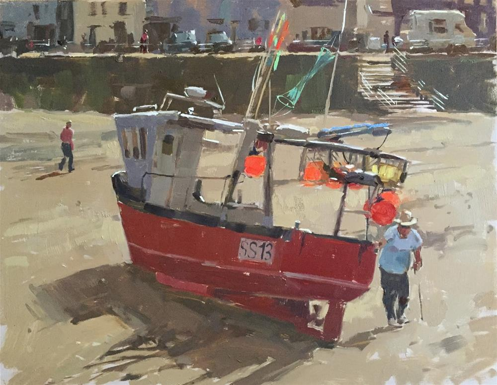 """Fishing boat at Staithes"" original fine art by Haidee-Jo Summers ROI"