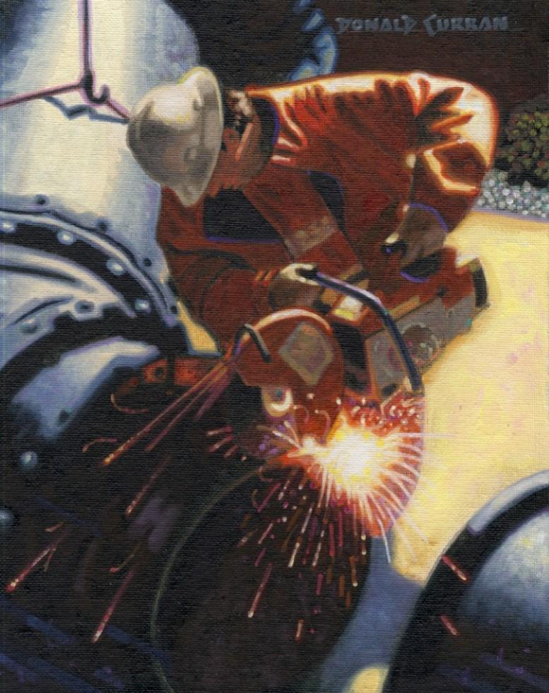 """""""Cutting Pipe"""" original fine art by Donald Curran"""