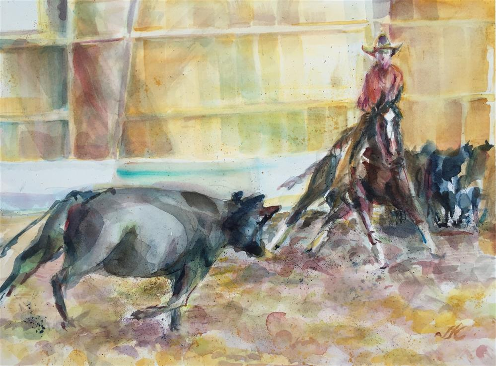 """""""Cattle Cutting - Westcliffe CO"""" original fine art by Jean Krueger"""