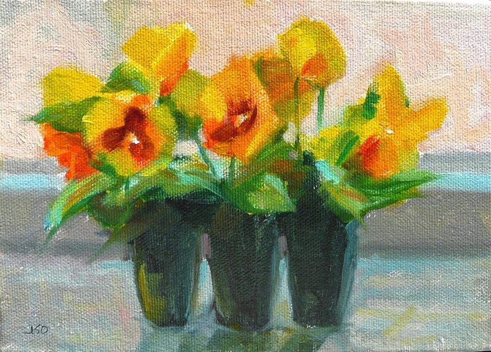 """Window Pansies,still life,oil on canvas,5x7,priceNFS"" original fine art by Joy Olney"