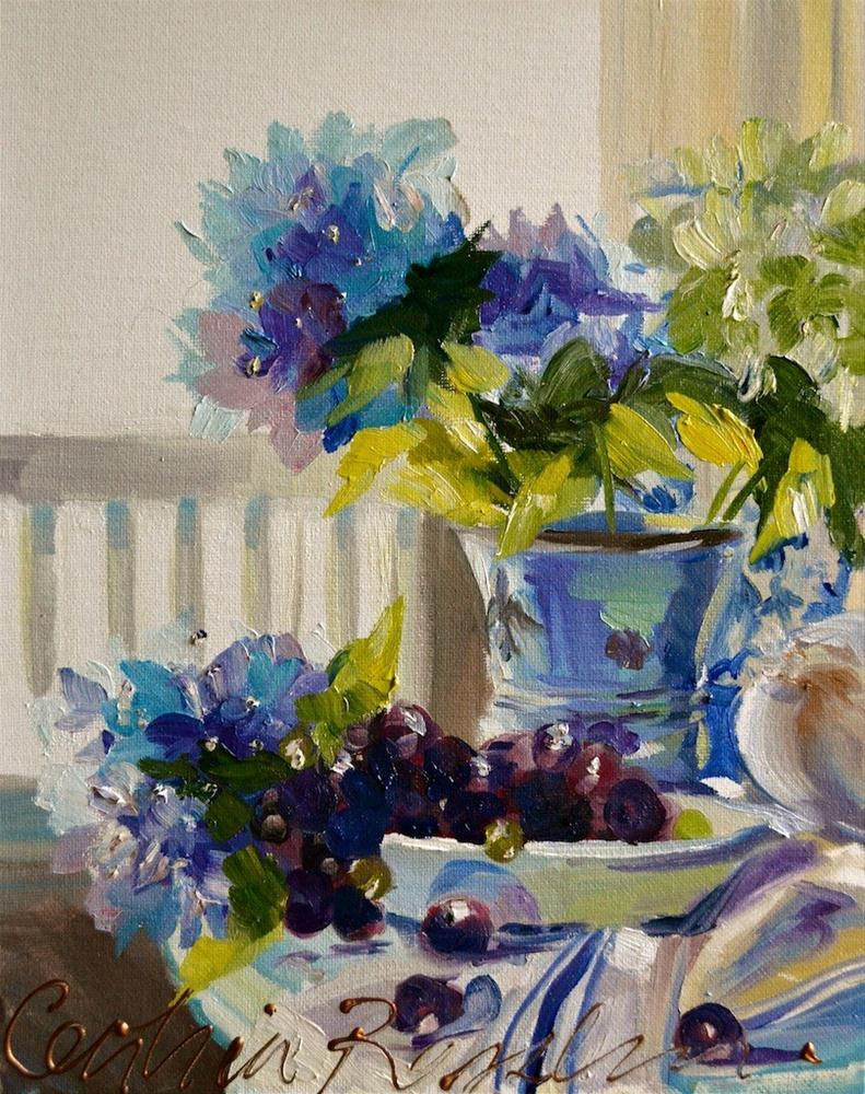 """BLUE HYDRANGEA"" original fine art by Cecilia Rosslee"