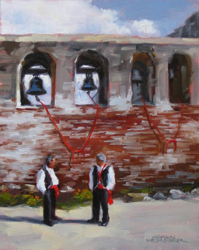"""Bell Ringers Wait"" original fine art by Karen Werner"