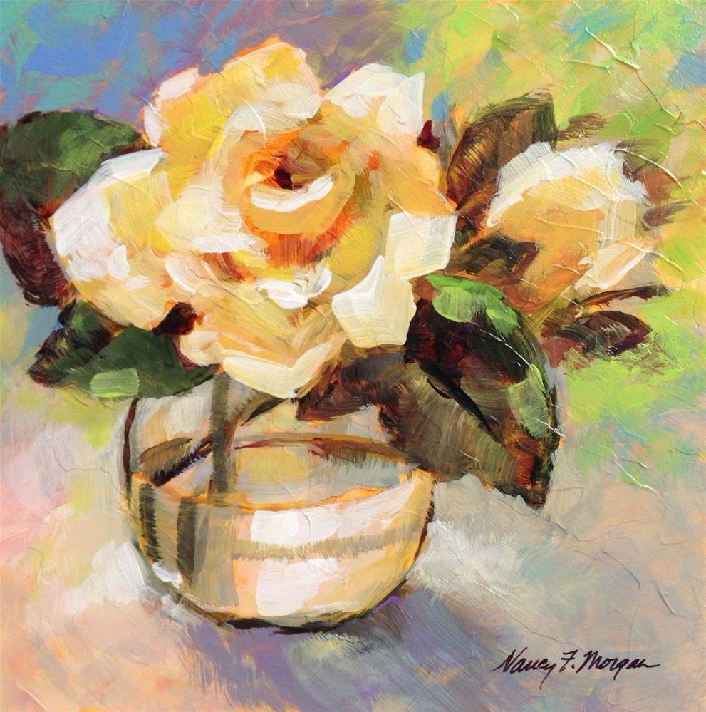 """Yellow Rose"" original fine art by Nancy F. Morgan"