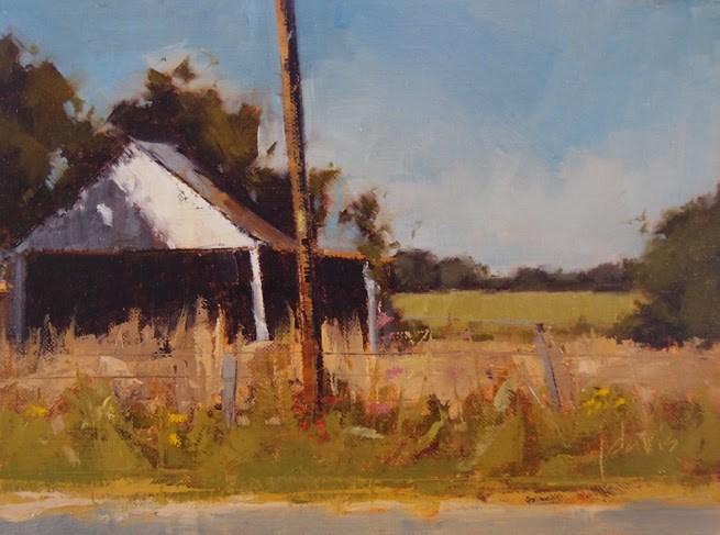 """""""Old Garage"""" original fine art by Julie Davis"""