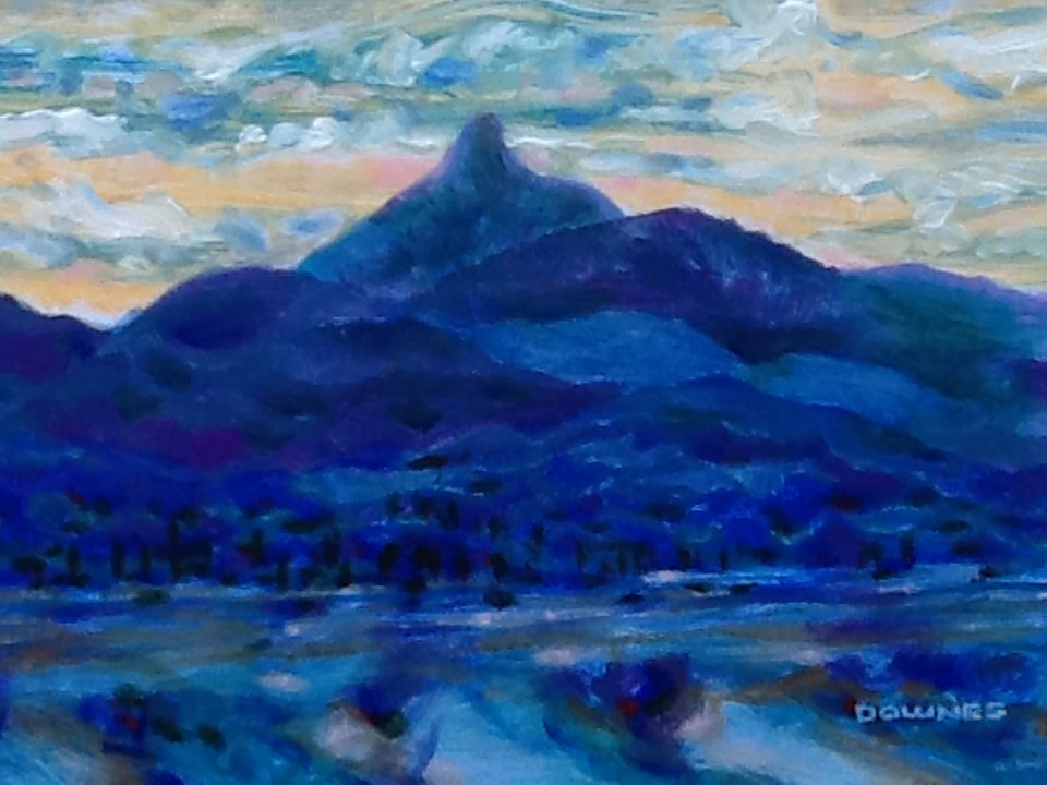 """087 MOUNT WARNING 20"" original fine art by Trevor Downes"