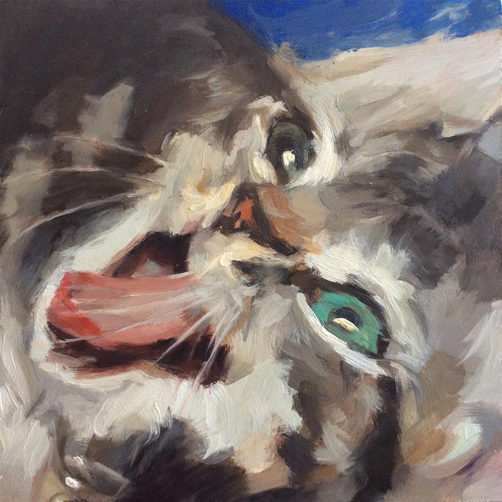 """Laughing Cat"" original fine art by Paula Howson-Green"