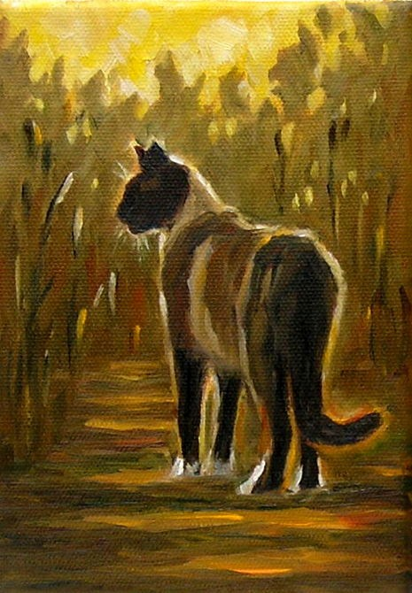 """Autumn Cat"" original fine art by Irina Beskina"