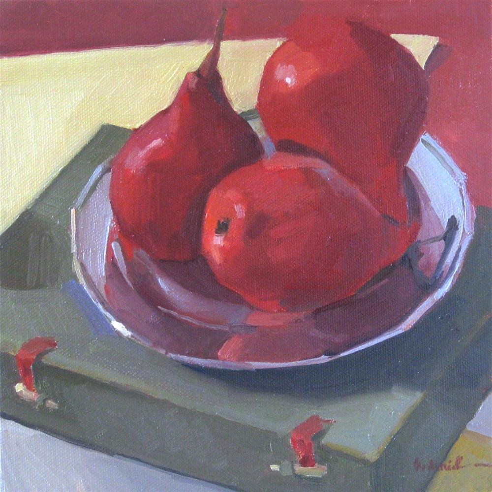 """Three Red Pears, framed"" original fine art by Sarah Sedwick"