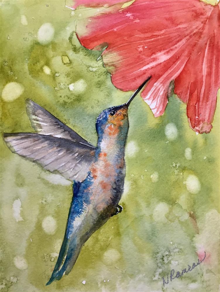 """Hummingbird and a red flower"" original fine art by Natasha Ramras"