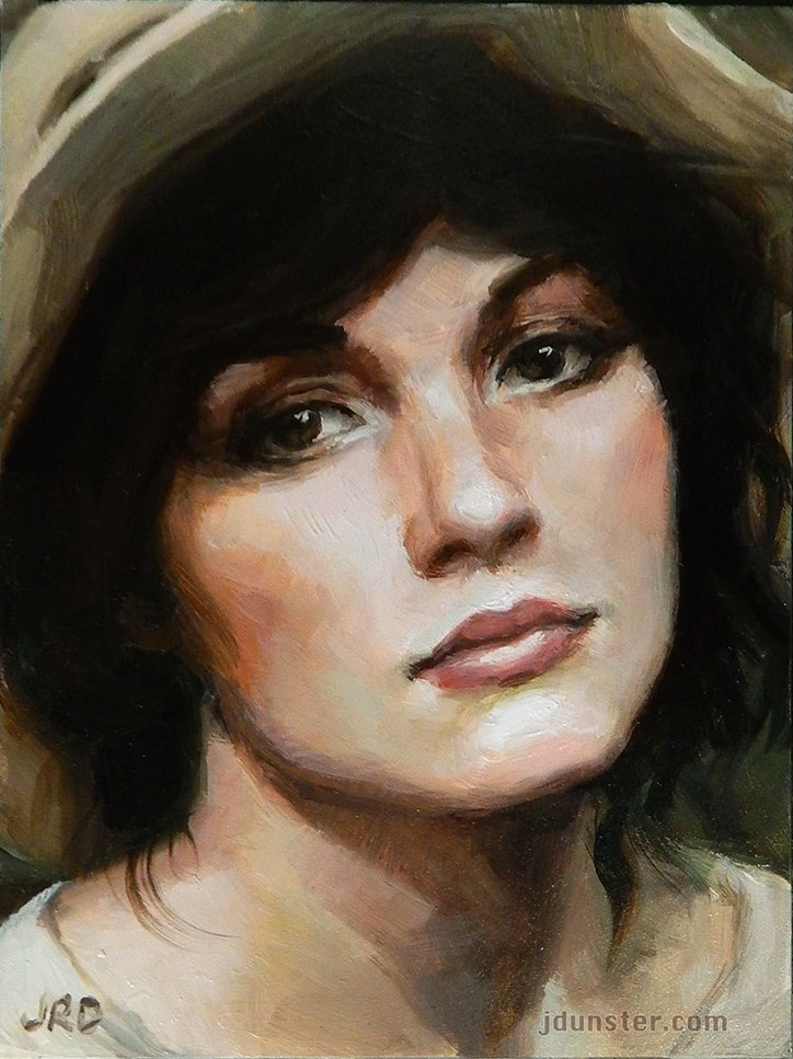 """""""Lady with a Hat"""" original fine art by J. Dunster"""