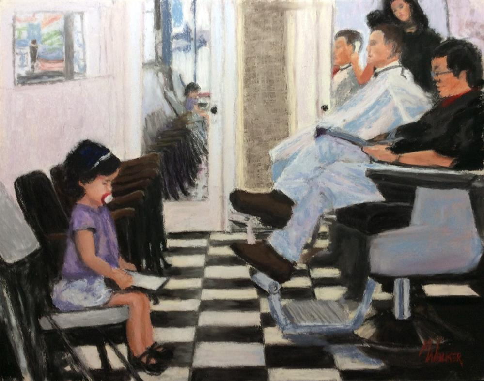 """Saturday at the Barbershop"" original fine art by Marti Walker"