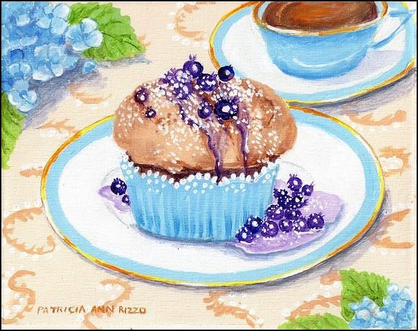 """Warm Blueberry Muffin and Tea"" original fine art by Patricia Ann Rizzo"