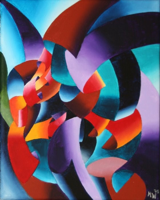 """""""Mark Adam Webster - Abstract Futurist Chess Player Oil Painting - Abstract Geometric Portrait Oil Pa"""" original fine art by Mark Webster"""