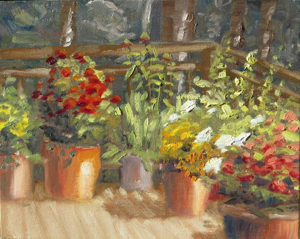 """Plants on Connie's Deck"" original fine art by Richard Kiehn"