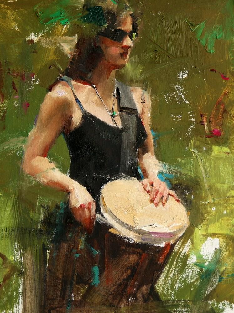 """""""Drummer 2"""" original fine art by Qiang Huang"""