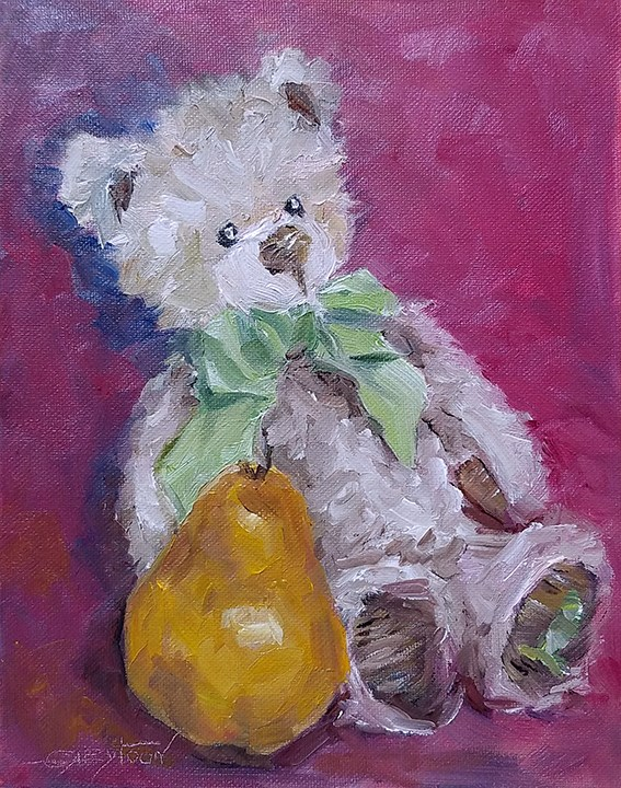 """""""Teddy Bear With Pear"""" original fine art by Gabriella DeLamater"""