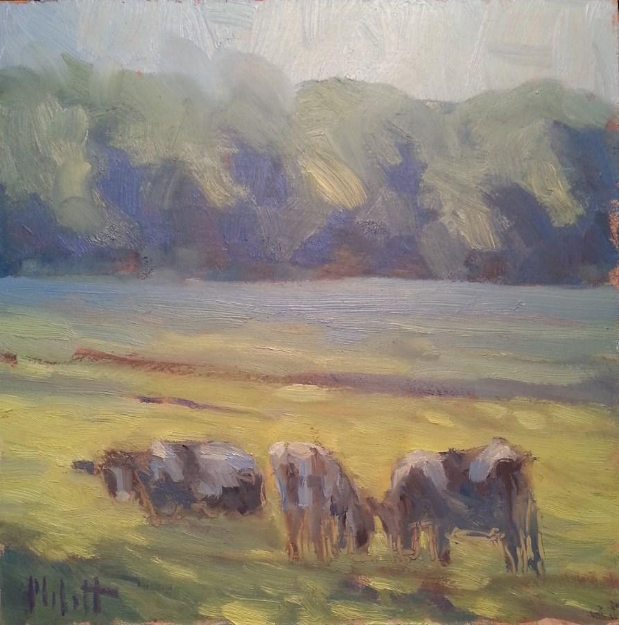 """Cows in the Morning Dew Original Impressionism Painting"" original fine art by Heidi Malott"