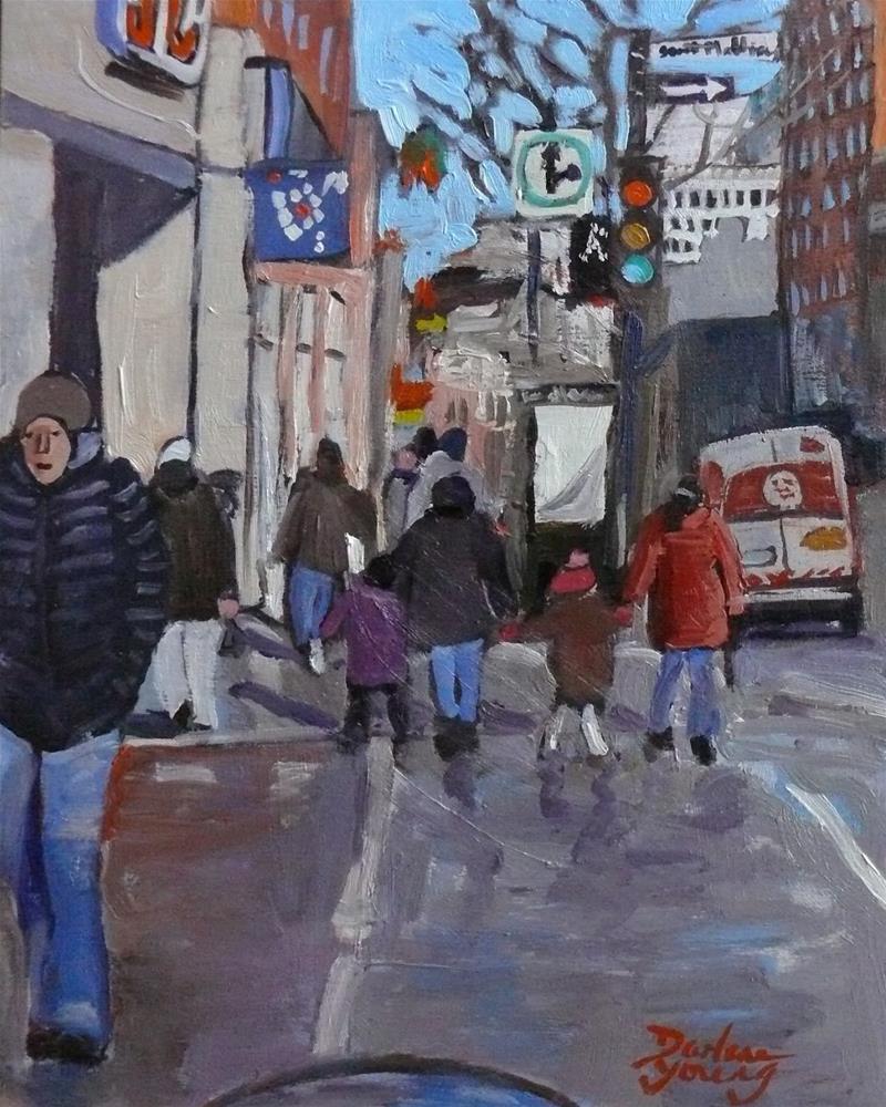 """960 Downtown Montreal Scene, Rue Ste Catherine,8x10, oil on board"" original fine art by Darlene Young"
