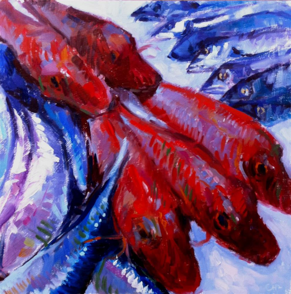 """""""red mullet party"""" original fine art by Catherine Harley"""