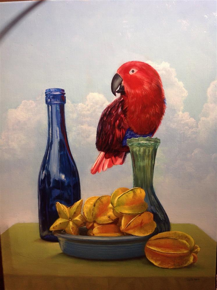 """""""Eclectus parrot – work in progress"""" original fine art by Paulo Jimenez"""