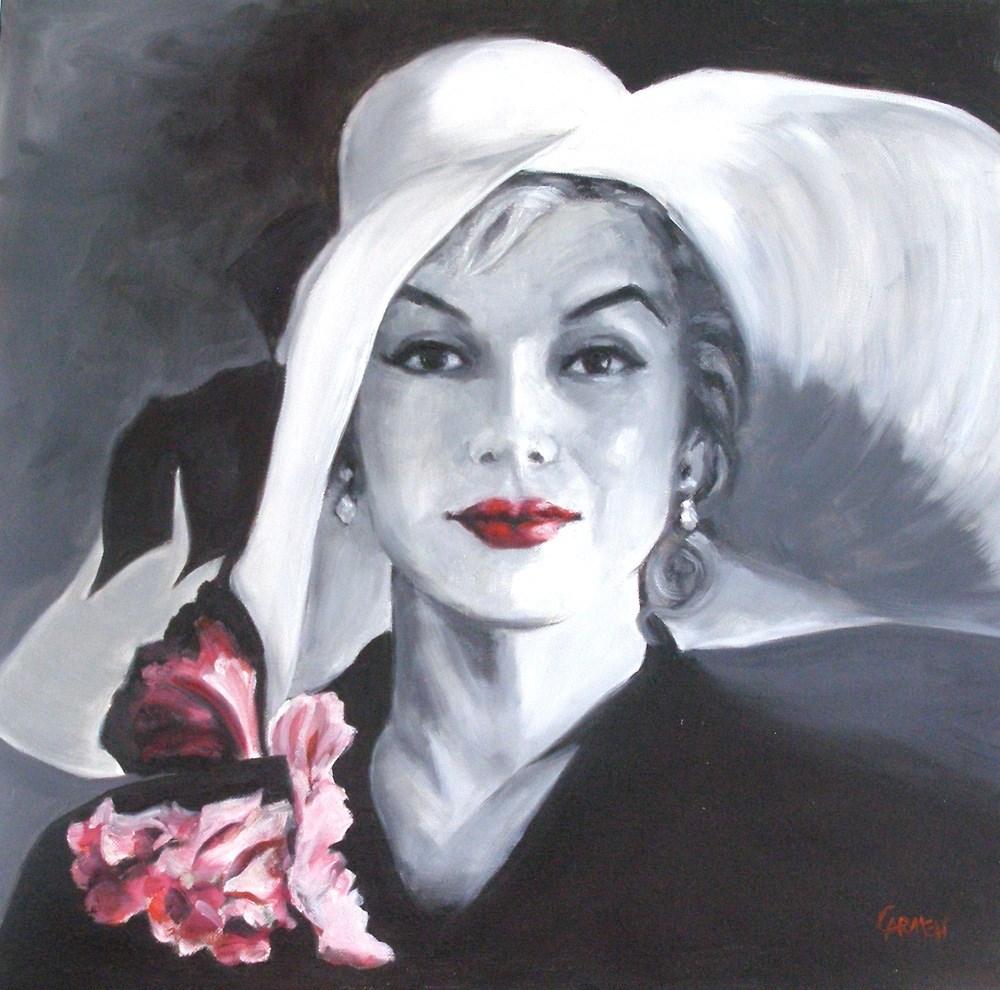 """""""Marilyn, 20x20 Oil Portrait on Canvas"""" original fine art by Carmen Beecher"""