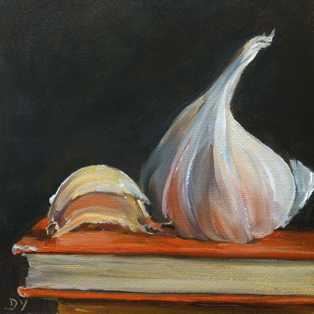 """Garlic on Orange, oil on canvas panel, 6x6"" original fine art by Darlene Young"