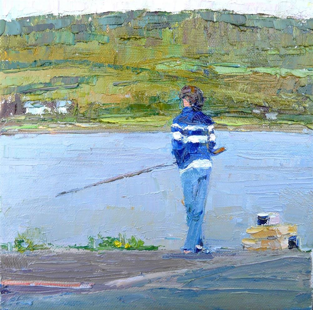 """Fishing Up NOrth,figure,oil on canvas,8x8,price$500"" original fine art by Joy Olney"