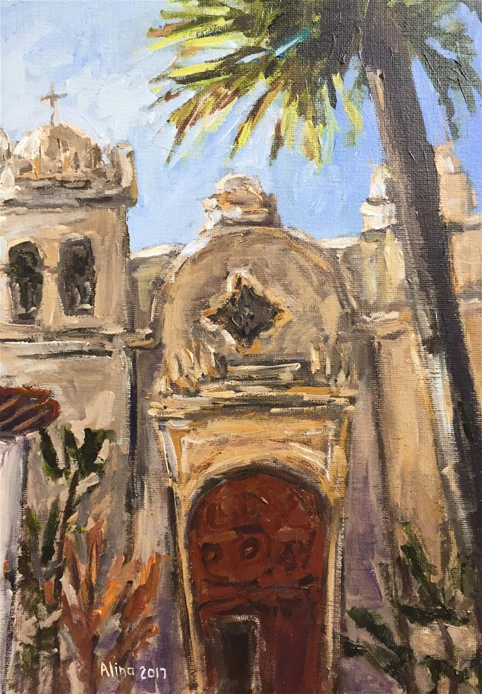 """Carmel Mission Basilica"" original fine art by Alina Vidulescu"