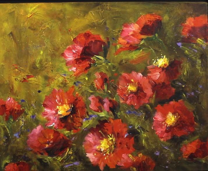 """Original Poppy Meadow Landscape Painting"" original fine art by Alice Harpel"