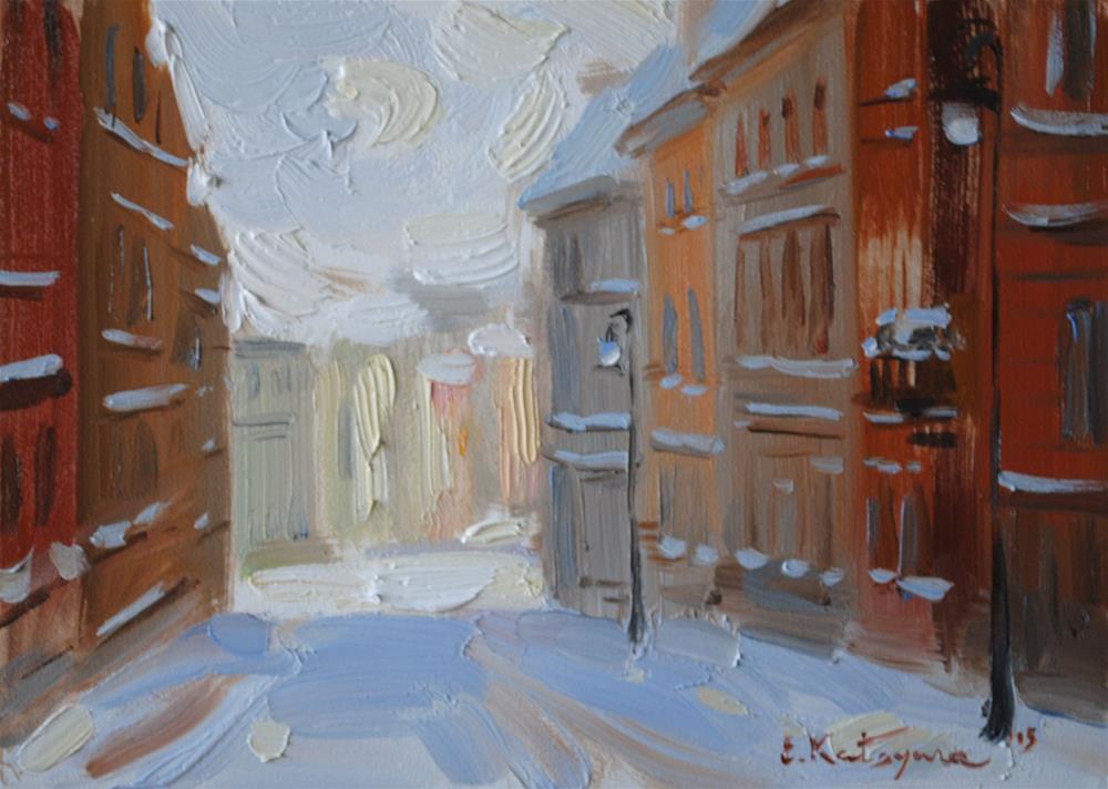 """Winter Houses"" original fine art by Elena Katsyura"