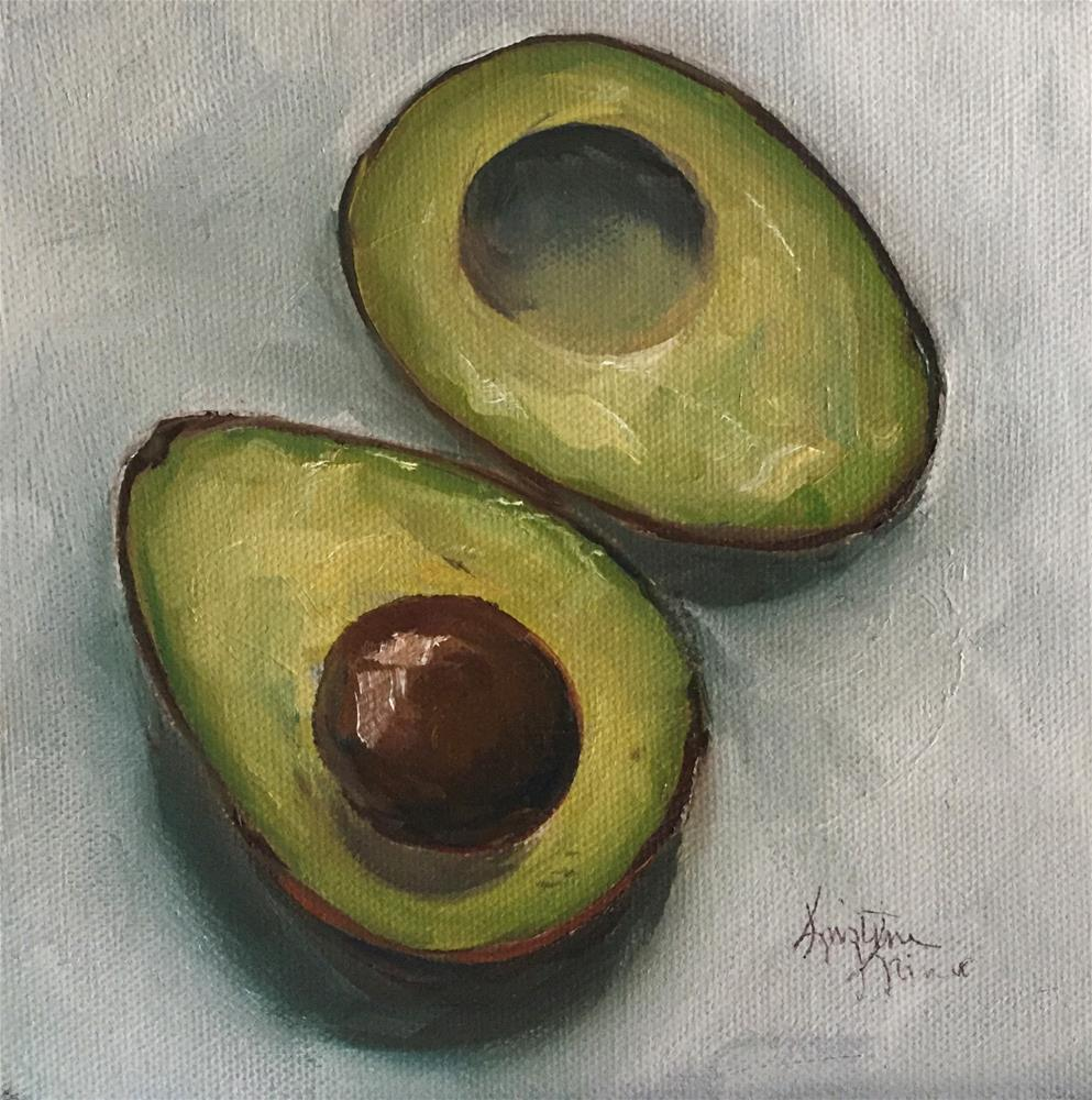 """Avocado Halves"" original fine art by Kristine Kainer"