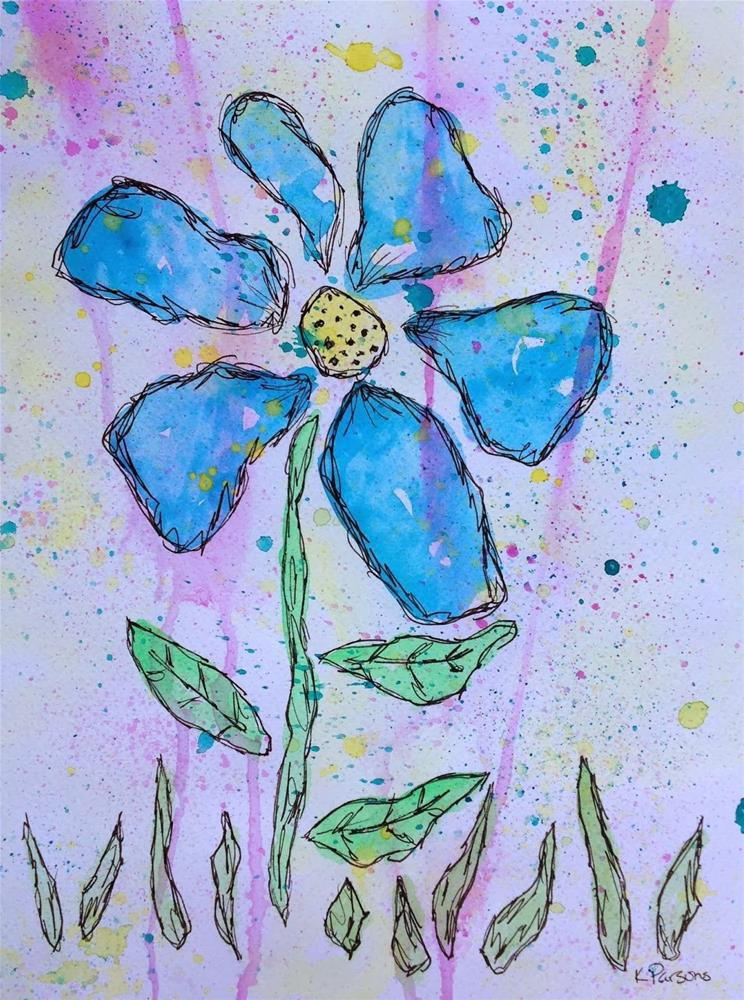 """Big and Blue"" original fine art by Kali Parsons"