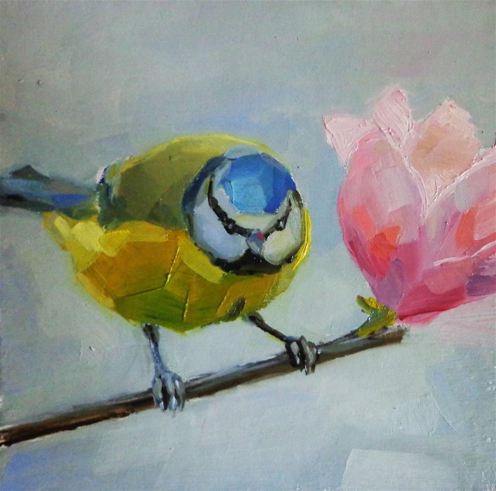 """Blue tit on a branch"" original fine art by Maria Z."