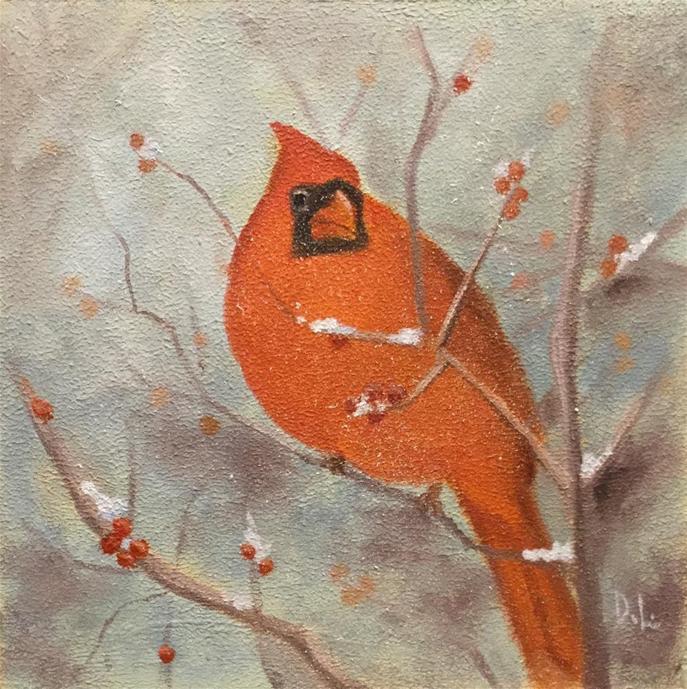 """""""Winter Cardinal"""" original fine art by Dee Lessard"""