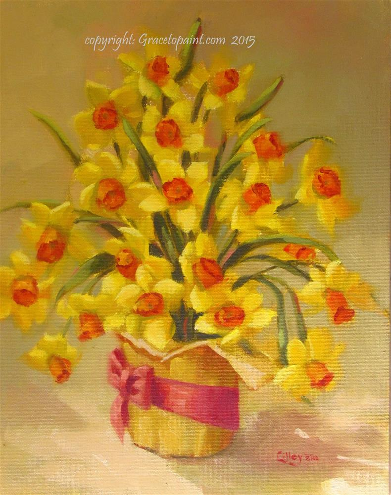 """Pot of Daffodils"" original fine art by Maresa Lilley"