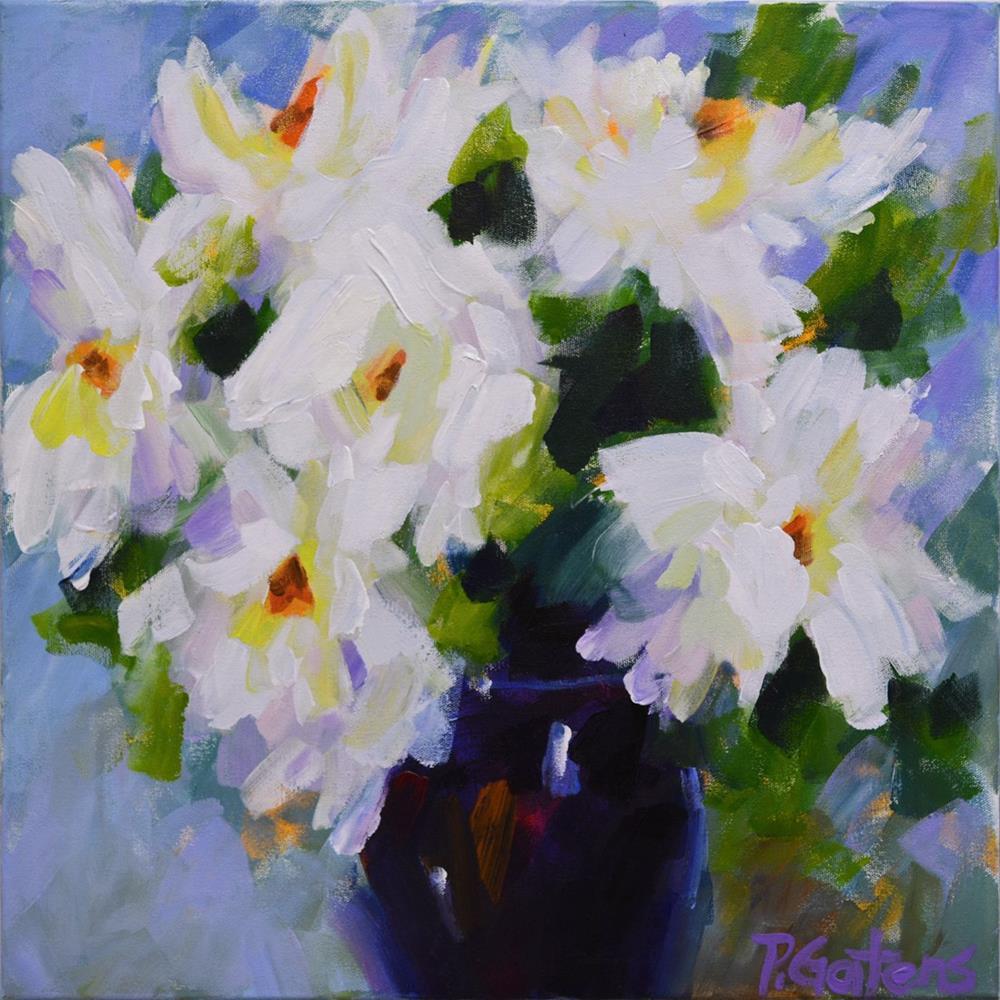 """White Peony Bouquet"" original fine art by Pamela Gatens"