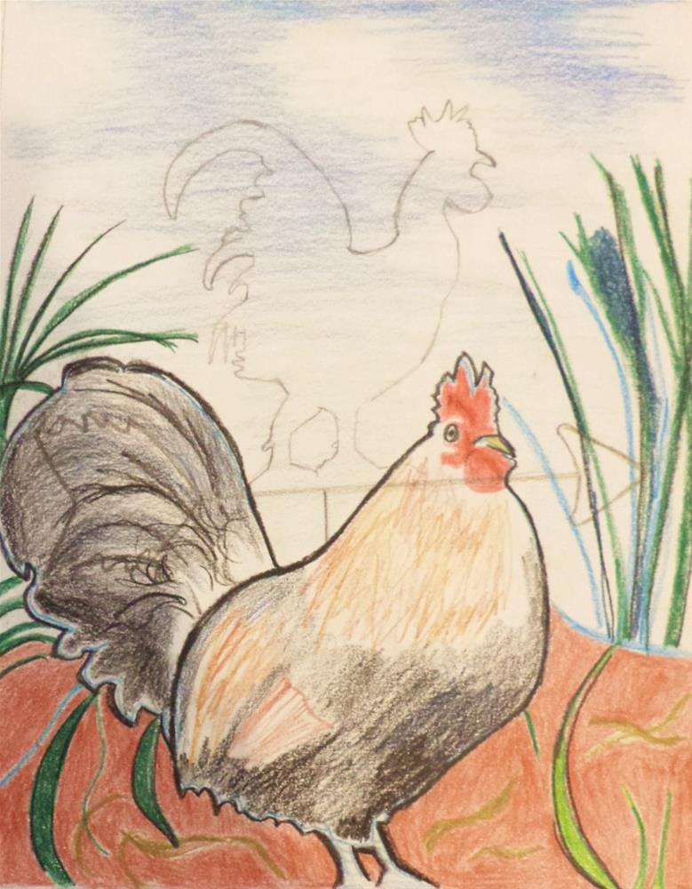 """""""Drawing of male chicken (cock) and weather vane"""" original fine art by tara stephanos"""