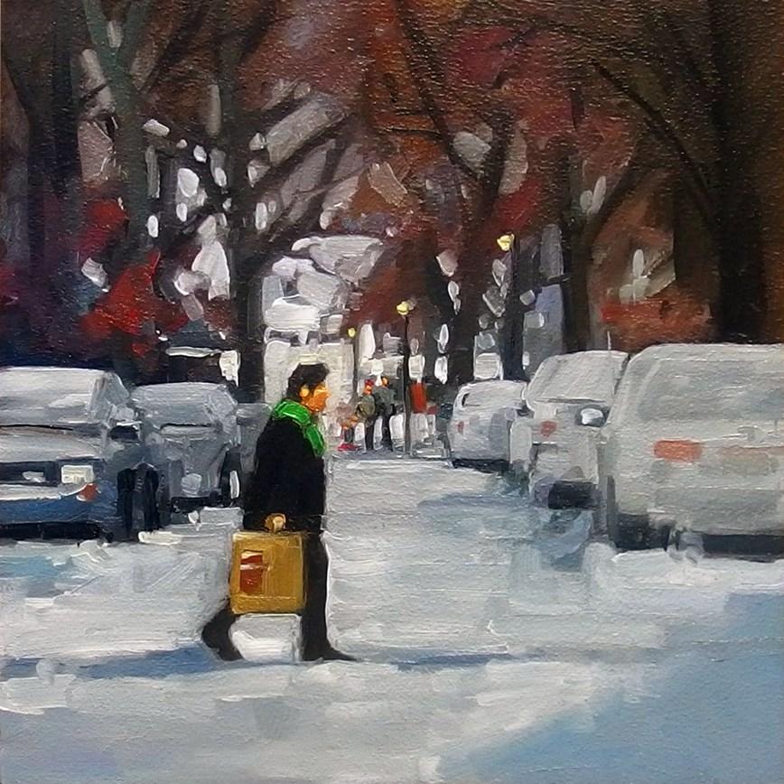 """The Green Scarf"" original fine art by Robin J Mitchell"