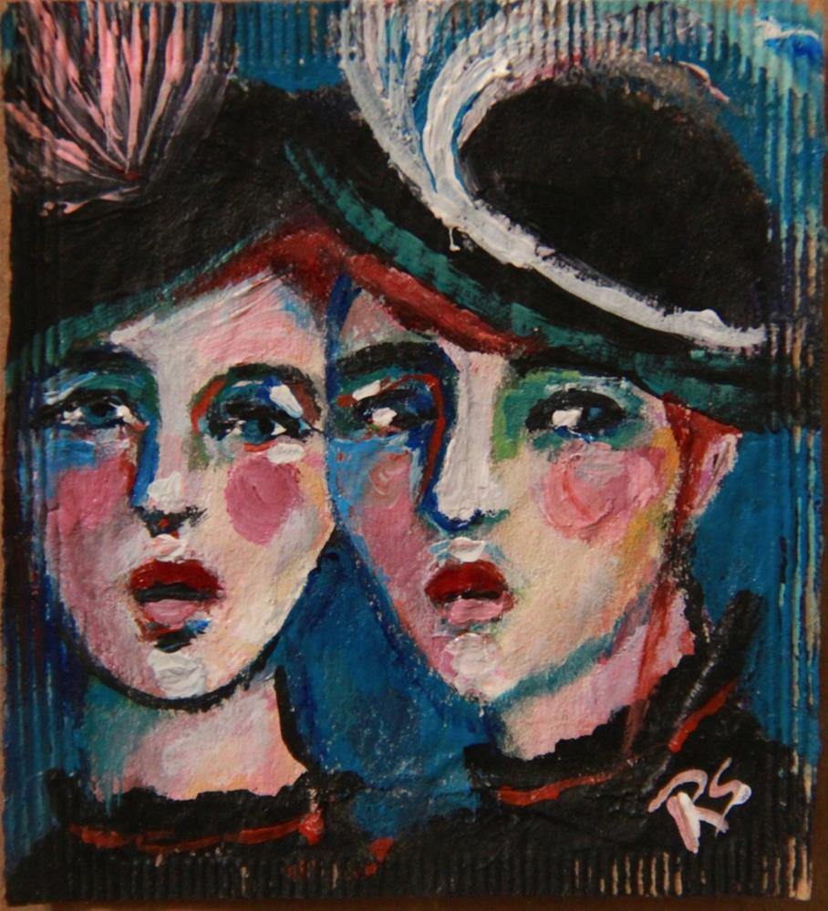"""Tea Bag Portrait - Fashionable Sisters"" original fine art by Roberta Schmidt ArtcyLucy"