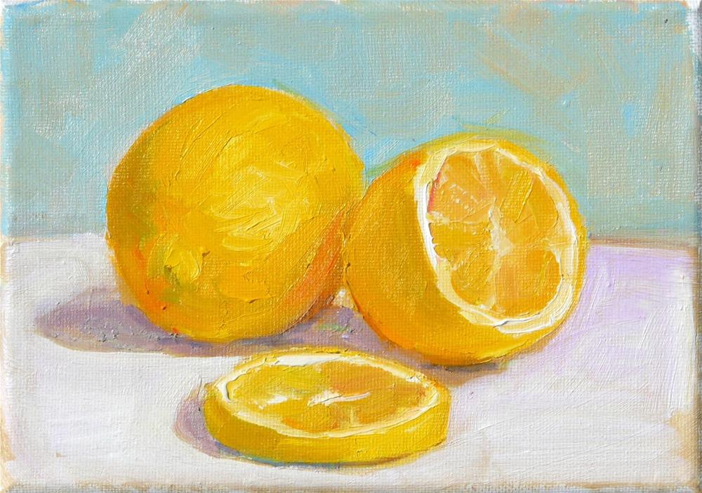 """Lemons,still life,oil painting,5x7,price$175"" original fine art by Joy Olney"