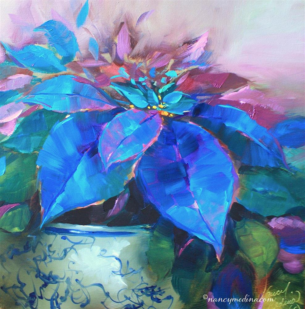 """Painted Ladies Blue Poinsettias and Happy Holidays Flower Friends!"" original fine art by Nancy Medina"